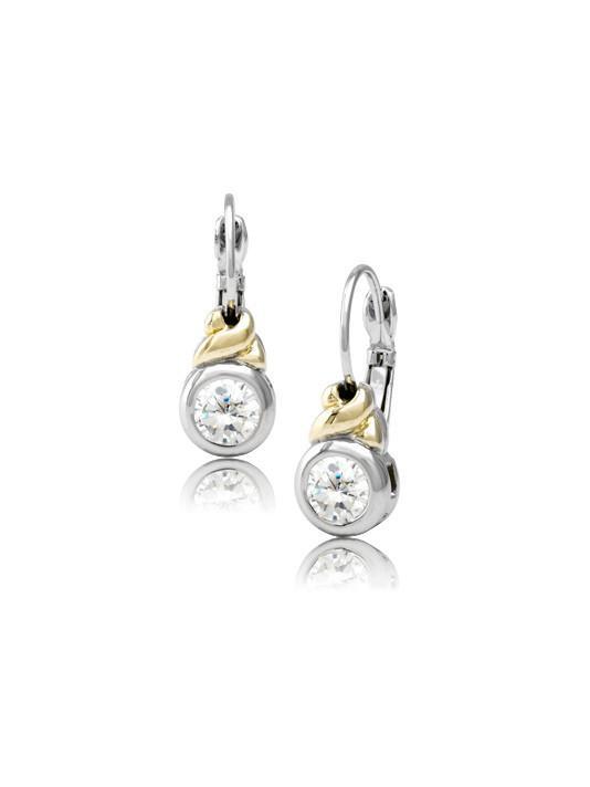 two tone clear round stone earrings handcrafted by john medeiros