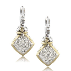 Two tone Square Pave Fish Hook Earrings