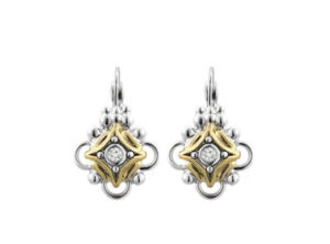 two tone CZ French Wire Earrings