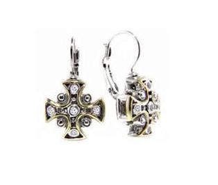 Two tone Cross CZ French Wire Earrings
