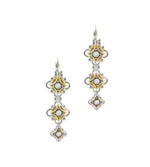 two tone three french wire flower earrings handcrafted by john medeiros