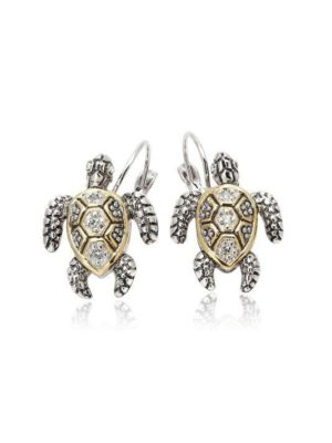 two tone pave sea turtle earrings handcrafted by john medeiros