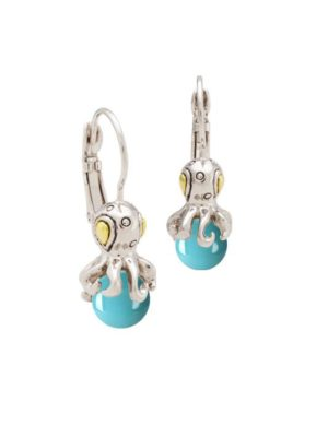 two tone aqua octopus and turquoise earrings by john medeiros