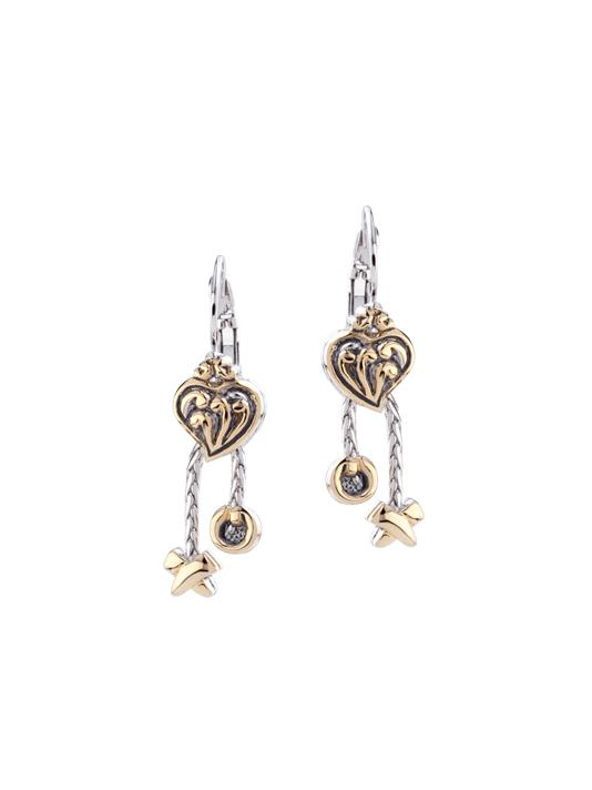 two tone Heart Earrings with XO Dangles handcrafted in USA by john medeiros