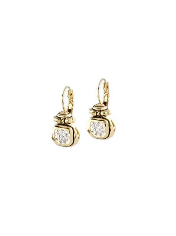 Anvil Gold & Pave French Wire Earrings handmade by john medeiros