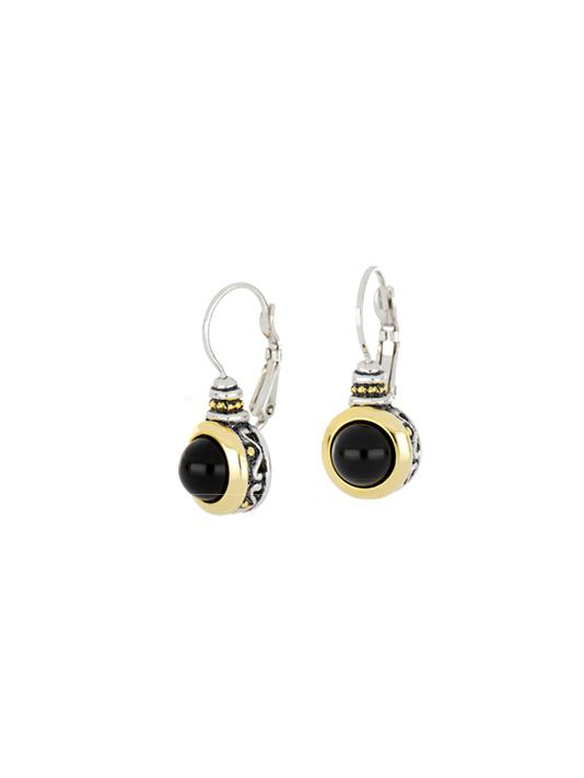 two tone Onyx 8mm French Wire Earrings handcrafted in the USA by john medeiros