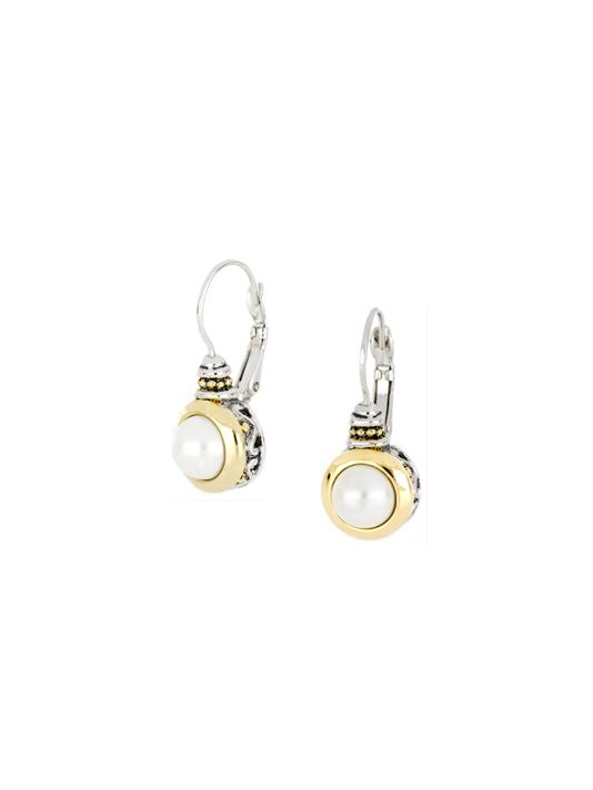 two tone 8mm Seashell Pearl French Wire Earrings handcrafted in the USA by john medeiros