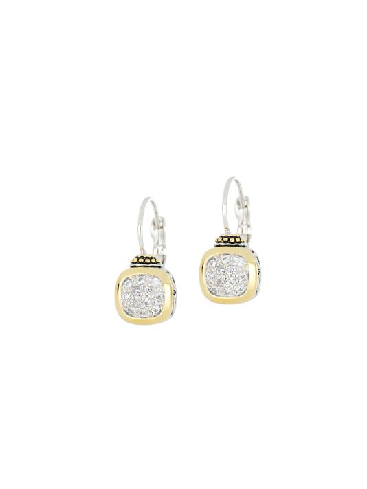 two tone Cushion Pavé French Wire Earrings handcrafted in USA by John Medeiros