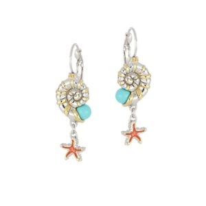 CARAÍBA COLLECTION NAUTILUS & STARFISH FRENCH WIRE EARRINGS