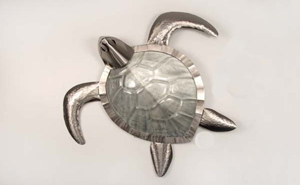 seaturtle with glass body and silver head and fins stainless steel wall art by mark malizia