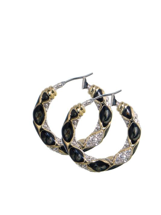 two tone Black Abalone Edition - Pavé Small Hoop Earrings handcrafted in the USA by John medeiros