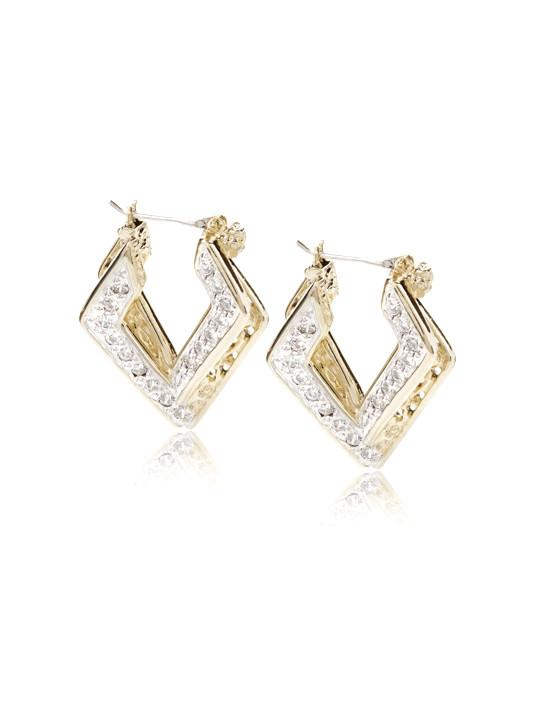 two tone Pave Double Oval Infinity HoopsTwo-tone oval pave cubic zirconia earrings. Rhodium plated premium alloy and 14kt gold plating. Handmade in the USA. by john medeiros