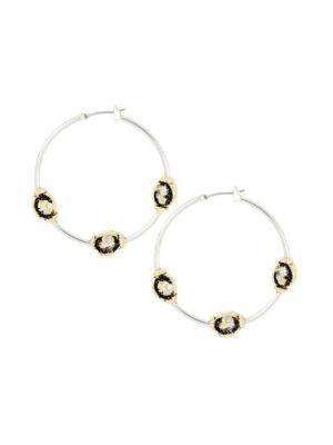 two tone carvao Large Hoop 3 station druzy stone Earrings handcrafted in the USA by john medeiros