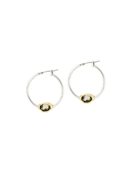 two tone carvao Large Hoop 1 station druzy stone Earrings handcrafted in the USA by john medeiros