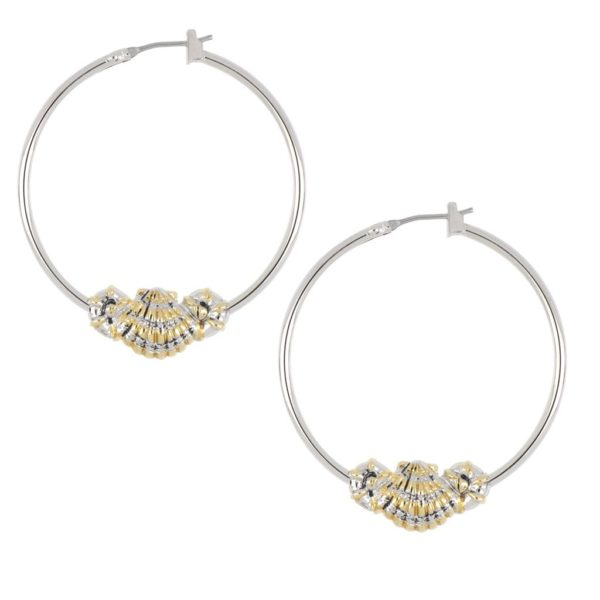 CARAÍBA COLLECTION TWO TONE SHELL HOOP EARRINGS