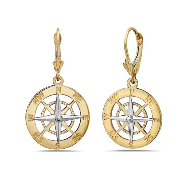 Compass Rose Yellow & White Gold Earrings Medium