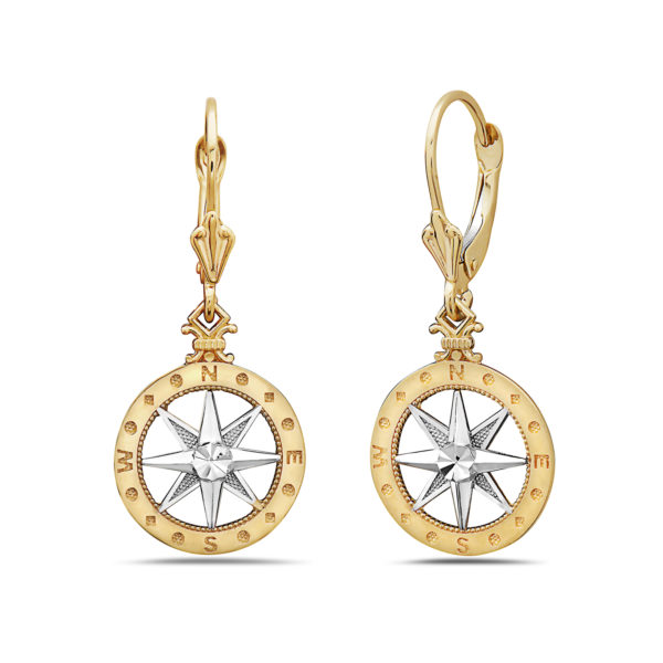 Compass Rose 14kt yellow & white gold earrings