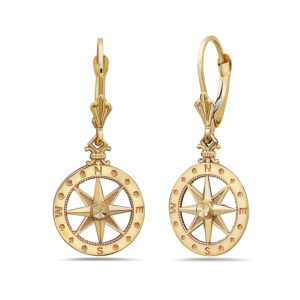 Compass Yellow Gold Earrings Small