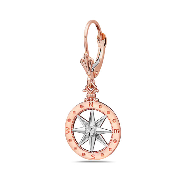 Compass Rose and White Gold Earrings Small