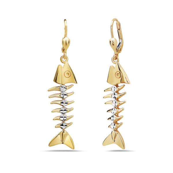 Small Bonefish 14kt yellow & white gold earrings