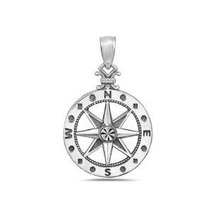 Small Compass White Gold Pendant