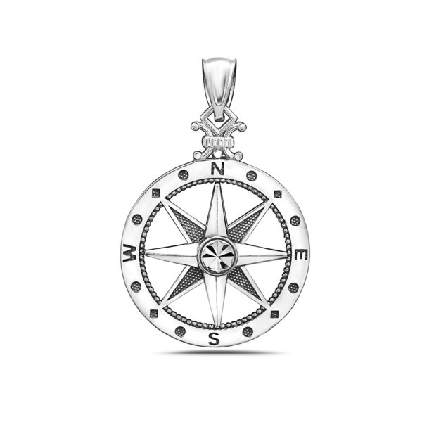 Medium Compass White Gold Pendant