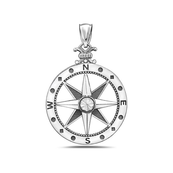 Large Compass White Gold Pendant