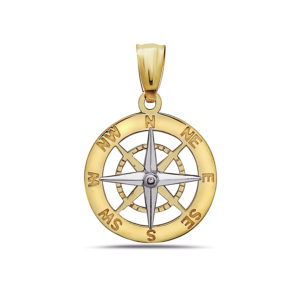 Compass Yellow and White Gold Pendant Small