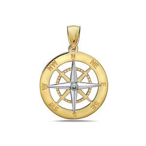 Compass Yellow and White Gold Pendant Medium