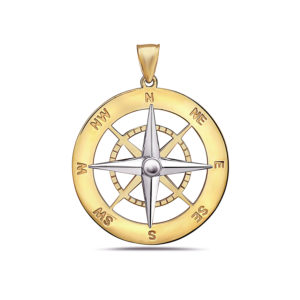 Compass Yellow and White Gold Pendant Large