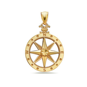 Large Compass Yellow Gold Pendant