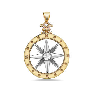 Large Compass Yellow and White Gold Pendant