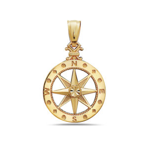 Compass Yellow Gold Pendant Small