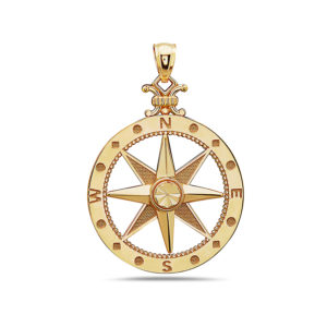 Compass Yellow Gold Pendant Large