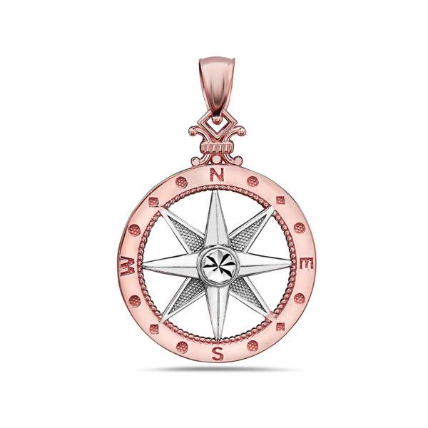 Medium Compass Rose Gold Pendant