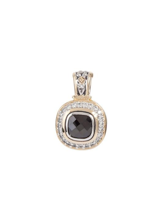 two tone black Pavé Accented Square Enhancer Pendant handcrafted in the USA by john medeiros