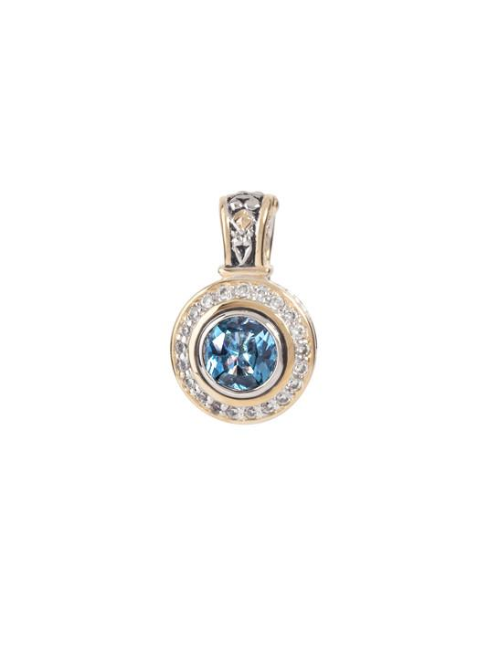 two tone aqua Pavé Accented Round Enhancer handcrafted in USA by john medeiros