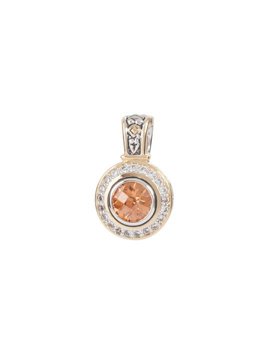 two tone champagne Pavé Accented Round Enhancer handcrafted in USA by john medeiros