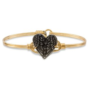 Angel Wing Heart Bangle Bracelet handmade in the USA by luca + danni