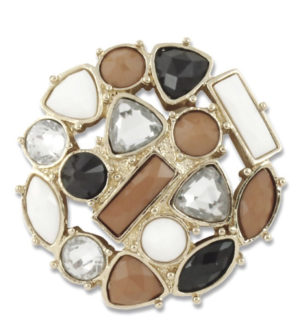 Cognac, black, crystal, and cream stone cluster on a gold base. lindsay phillips switch flops