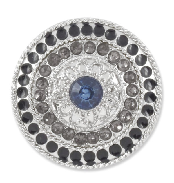 The Lori Snap is a navy, grey, and crystal stones on shiny silver round base. lindsay phillips switch flops