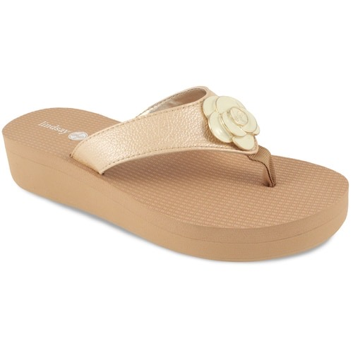 """Allie Tan 1 1/2"""" wedge flip flop with yoga mat footbed and cream flower snap"""