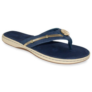 The Becca Navy is a molded EVA boat sandal with soft ribbon thong and a signature LP logo snap. lindsay phillips switch flops