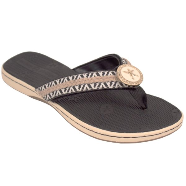 Bonnie Black Black molded boat sandal with soft ribbon thong switch flops by lindsay phillips