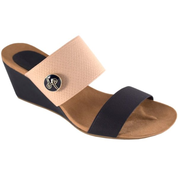 "Emily Black 2 3/4"" wedge with double elastic strap slide switch flops by lindsay phillips"