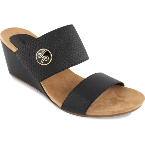 """Emily Black 2 3/4"""" wedge with double elastic strap slide switch flops by lindsay phillips"""