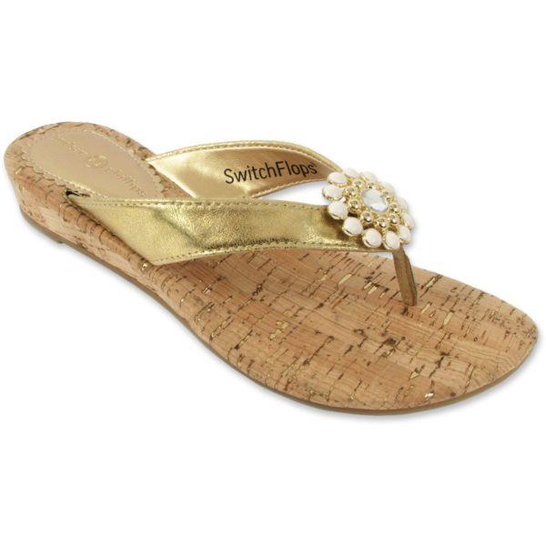 Gwen Gold Strap Flip Flops with cork sole and white and cold clip