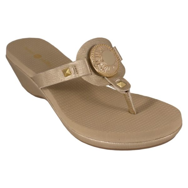 "Lexi Gold 1-3/4"" molded platform wedge with yoga mat footbed switch flops by lindsay phillips"