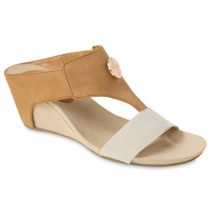 """The Lucy Tan is a 2 ¾"""" slip-on wedge with suedecloth sock and comfy elastic vamp strap with a gold LP logo signature snap. lindsay phillips switch flops"""