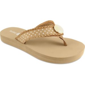 The Lulu Tan is a 1″ classic EVA flat with non-skid signature sole and soft ribbon thing and a tan and white polka dot strap with an ivory ornament.